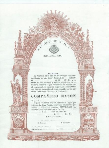Diploma Compañero Masón