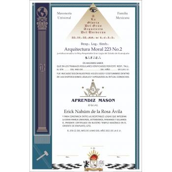 Elaboración de Diplomas de Aprendiz Masón
