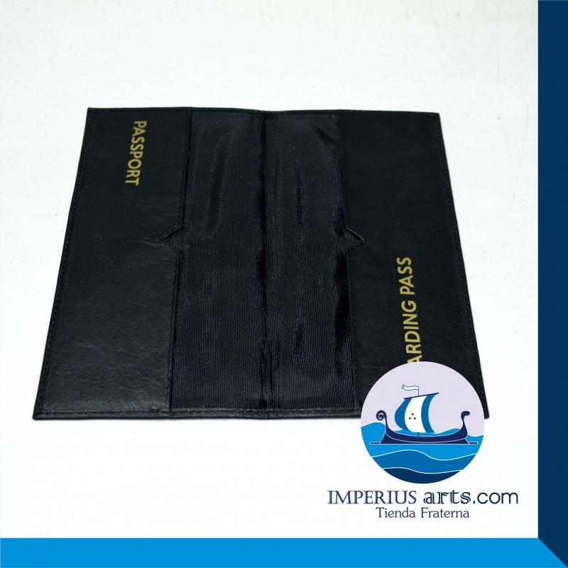 Porta Pasaporte y Boarding Pass Escuadra y Compás Piel